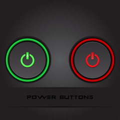 Two power buttons on black background stylish vector
