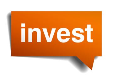 invest orange speech bubble isolated on white
