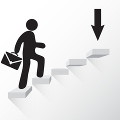 Man with suitcase walking towards the goal stairs vector