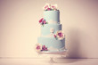blue wedding cake with roses - 77994993