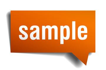 sample orange speech bubble isolated on white