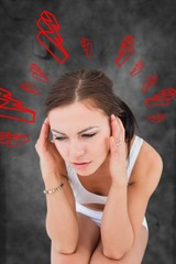 Composite image of woman with headache