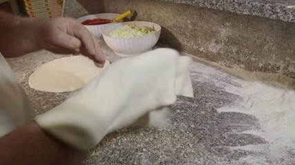 Man Cook Making Pizza Preparing Food Italian Restaurant Kitchen
