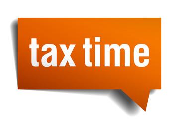 tax time orange speech bubble isolated on white