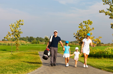 Family of golf players