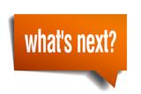 whats next orange speech bubble isolated on white