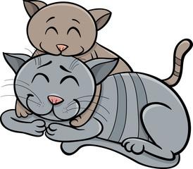 happy cat and kitten cartoon
