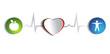 Постер, плакат: Healthy heart of paper and healthy life style symbols