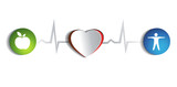 Healthy heart of paper and healthy life style symbols