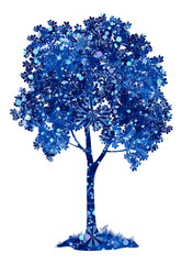 Chestnut blue tree with Christmas snowflakes