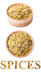 spice salt in a wooden bowl
