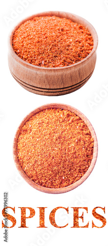 salt in a wooden bowl