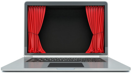 laptop and curtain display