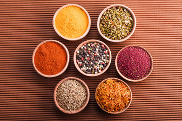 set dry spices in a wooden bowl