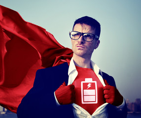 Battery Strong Superhero Professional Empowerment Concept