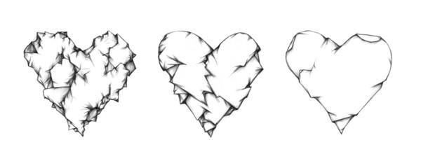 Drei zerknitterte Herzen