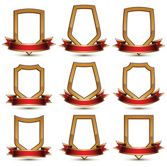 Set of geometric vector glamorous golden elements isolated on wh