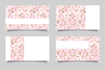 Business cards with pink flowers. Vector illustration.