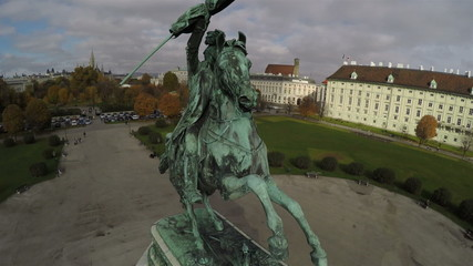 Aerial view on Heroes square in Vienna.