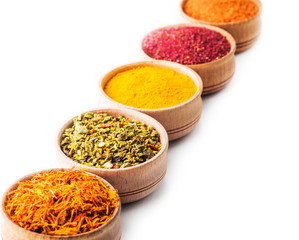 set spice saffron,paprika,sumac,turmeric,green pepper