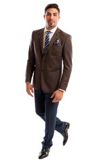 Brunet male model wearing elegant and fashionable suit