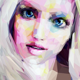 Low poly abstract portrait of the blonde with blue eyes