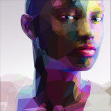 Fototapety Low poly abstract portrait of a black girl