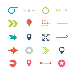 Arrow sign icon set. Simple circle shape internet button on gray