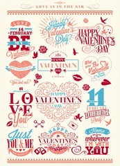 Set Of Happy Valentine's Day Typographical Background