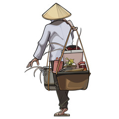 Vietnamese trader comes with pots on the beam