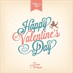 Vintage Valentines Day Typographical Card