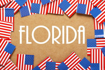 The name Florida with a border of USA Flags