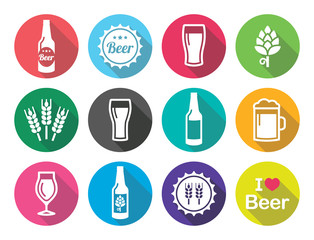 Beer flat design round icons set - bottle, glass, pint