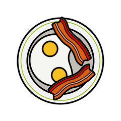 Eggs and bacon. Four delicious fried eggs and slices of crisp