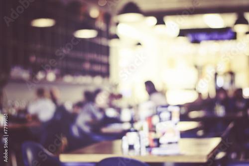 Blurred background : Customer at restaurant blur background with - 77999151