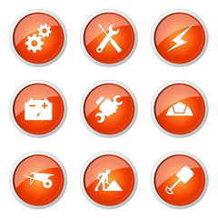 Construction Tools Orange Vector Button Icon Design Set