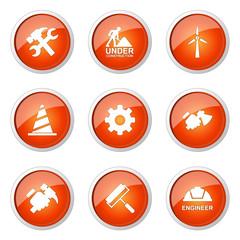 Construction Tools Orange Vector Button Icon Design Set 2