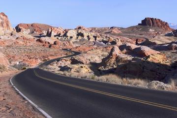 Winding road in rocky desert