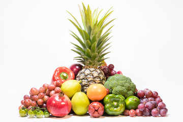 Fresh fruits group on white background