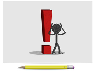 Sketch red 3D exclamation mark and man