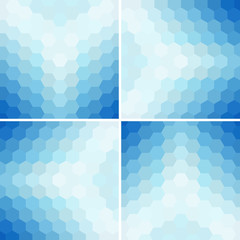 Set of four abstract hexagon background.
