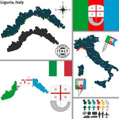 Map of Liguria, Italy