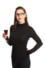 Cute woman with a glass of red wine