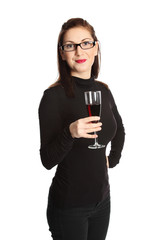 Woman with a red wine glasses