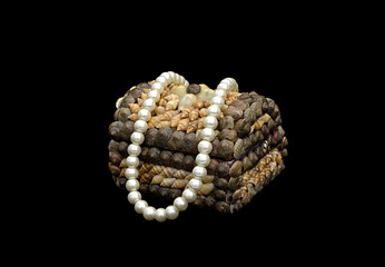 small box with pearls on a black background