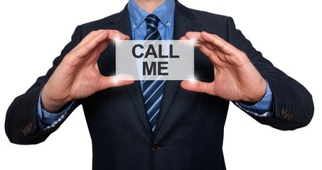 Call me. Businessman shows business card. White Background