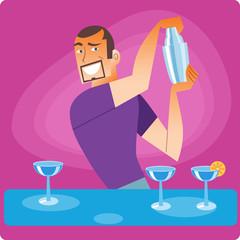 Stylish bartender prepares a cocktail