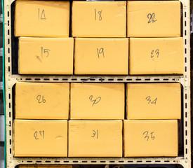Shelves brown carton