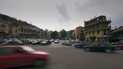 Tbilisi Georgia city junction traffic time lapse