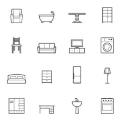 Contour home furniture vector isolated icons set